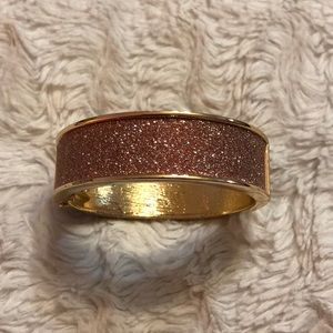 Express Pink Shimmer Gold Tone Bangle Bracelet